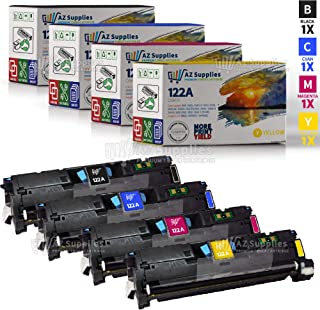 AZ Supplies Re-Manufactured Replacement Toner Cartridges for HP 2550 Toner Cartridges 122A 4 Color Set (Black, Cyan, Magenta, Yellow) Q3960A, Q3961A, Q3962A, Q3963A for use in HP Color LaserJet 2550, 2820, 2840, 2550n, 2550LN Series Printers Black:6,000, Color:4,100 page yield
