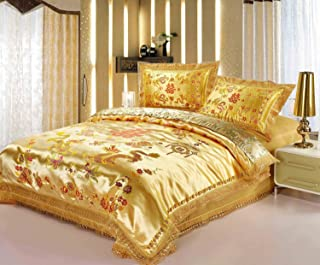 LELVA Chinese Traditional Bedding Asian Bedding Queen with Dragon and Phoenix Bird Embroidery Duvet Cover Set 4pcs (King)