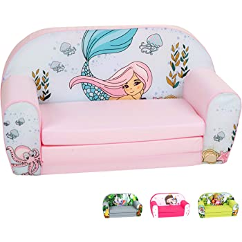 Amazon Com Hayes And Harper Toddler Couch Kids Sofa Kid Fold Out Chair Baby Couches Flip Open Chairs Girls Boys Toddlers Sofas Coral Kitchen Dining