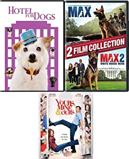 Barking dogs 2 DVD Hotel for Dogs + Devoted Max the Dog + White House Hero favorite canine & Ours, Yours & Mine Family Comedy