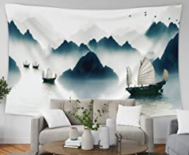 Asdecmoly Wall Hanging Tapestries, Home Decor Tapestry The Mountains in The Morning Fog All See River Across Sailboat to Dorm Room Bedroom Living Room 80x60 Inches(200x150cm)
