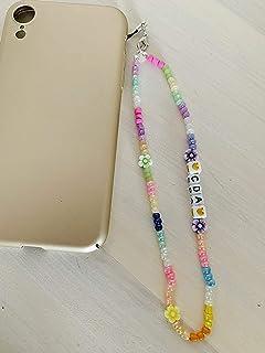 Phone strap perline charm Fiori personalizzato con lettere e nome. Porta cellulare da polso e gioiello per il tuo telefon...