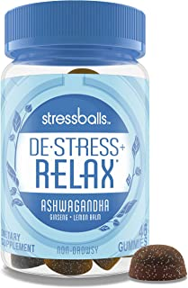 Stressballs, De-Stress + Relax, with Ashwagandha for Stress Relief, Ginseng & Lemon Balm Herbal Blend, Non-Drowsy Suppleme...