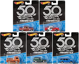 2018 Hot Wheels 50th Anniversary Favorites Series Set of 5 1/64 Scale Diecast Cars