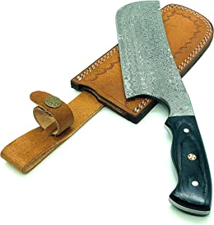 CK-93 Handmade Professional Damascus chef cleaver 224 layers With Leather Sheath Full Tang 12 inches