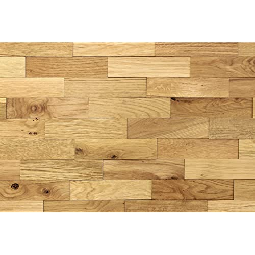 wodewa Wood Cladding for Interior Walls 1m² Natural Oak Rustic Wooden Wall Cladding 3D Panels Modern Wall Covering Living Room Kitchen Bedroom Decoration Panelling Oiled
