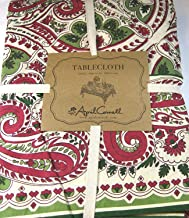April Cornell Holiday Christmas Paisley Tablecloth in Red, Green & Ivory - 60 x 104