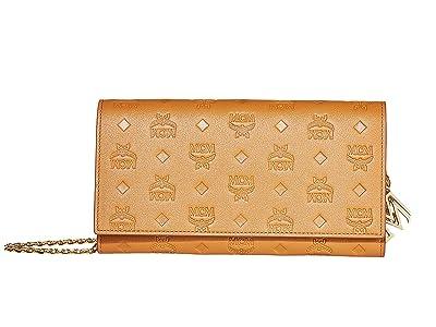 MCM Klara Monogrammed Leather Charm Flap Wallet (Cognac) Handbags