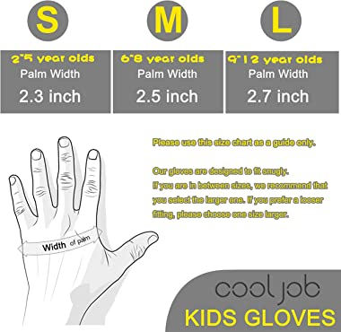 COOLJOB 2 Pairs Kids Gardening Gloves for Ages 2-12, Toddlers Rubber Coated Work Gloves, Gift Set for Boys & Girls, Green