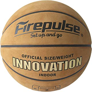 FIREPULSE Innovation Basketball/Official Size 7 (29.5'')/Indoor Top Grain Leather Game Basketballs with Free Air Pump,Needles,Basketball Carry Bag