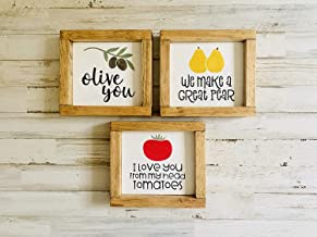 Kitchen Pun Funny Signs | Olive You | I Love You from My Head Tomatoes | We Make A Great Pear | Funny Food Puns | Fun Kitchen Shelf Sitter