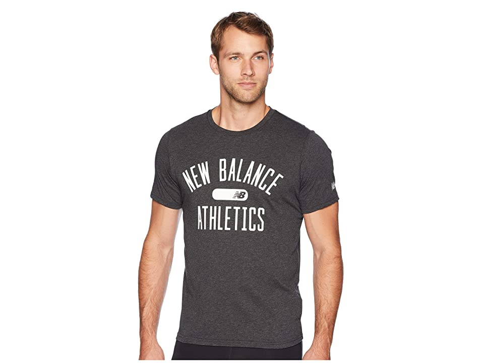 New Balance Athletics Heathertech Tee (Black Heather) Men