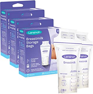 Lansinoh Breastmilk Storage Bags With Convenient Pour Spout and Patented Double Zipper Seal, 3 Packs of 25 Count (75 Count...