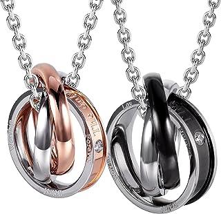 مجوهرات حضرية له و هير الأزواج محفورة حلقة مزدوجة قلادة