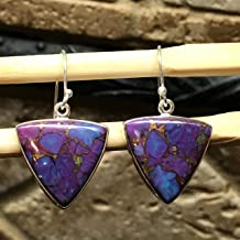 Gorgeous Purple Copper Mohave Turquoise 925 Solid Sterling Silver Trillion Dangle Earrings 30mm Long