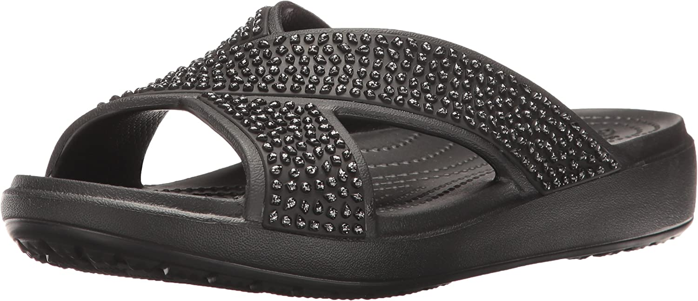 Crocs Women's Sloane Embellished Cross-Strap Slide Sandal