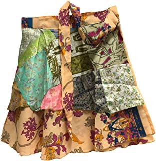 JK Patchwork Indian Bohemian Silk Reversible Wrap-Around Mini Skirt No13