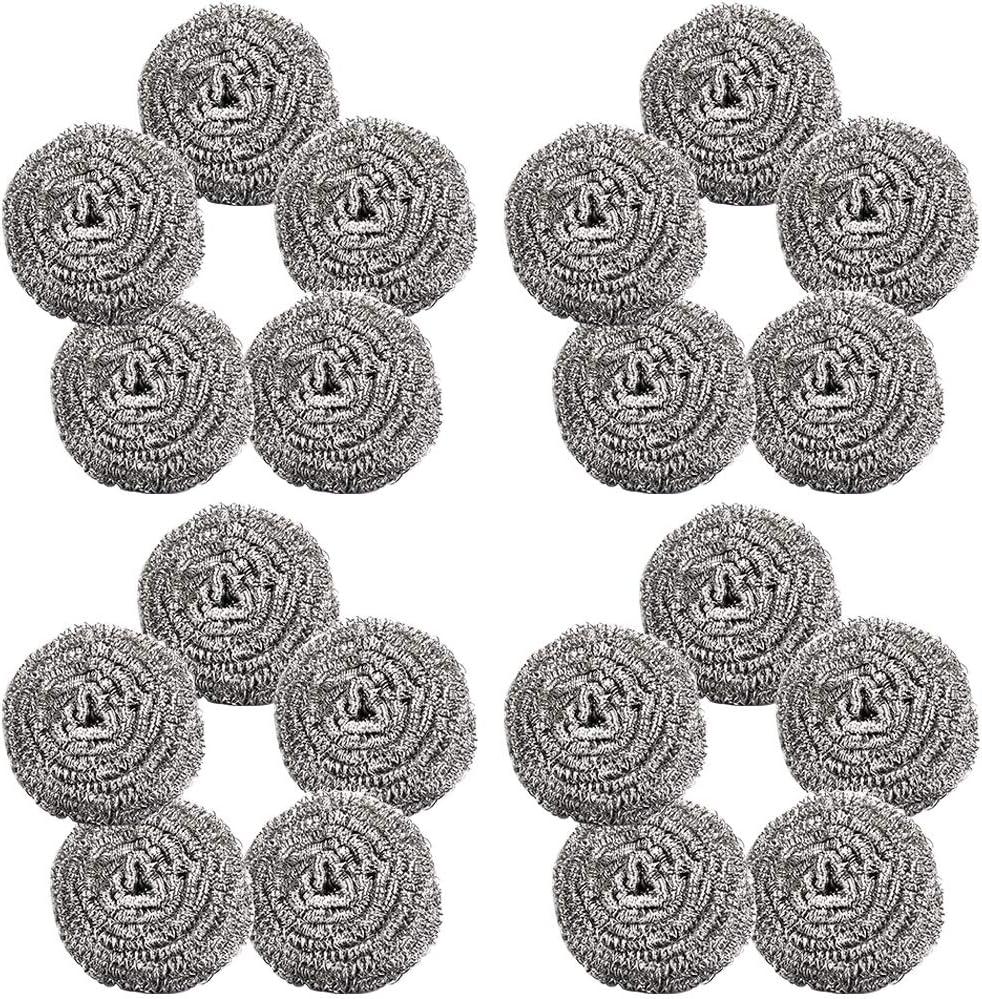 Bestzy - Estropajos (20 unidades, acero inoxidable, en espiral, limpios para cocina, herramientas de limpieza)