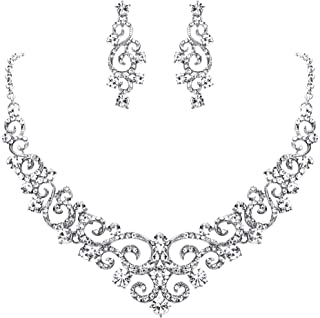 EVER FAITH Women's Crystal Art Deco Floral Vine Bridal Necklace Earrings Set Clear Silver-Tone