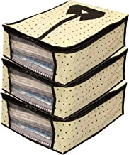 Kuber Industries 3 Piece Non Woven Shirt Cover Set, Cream