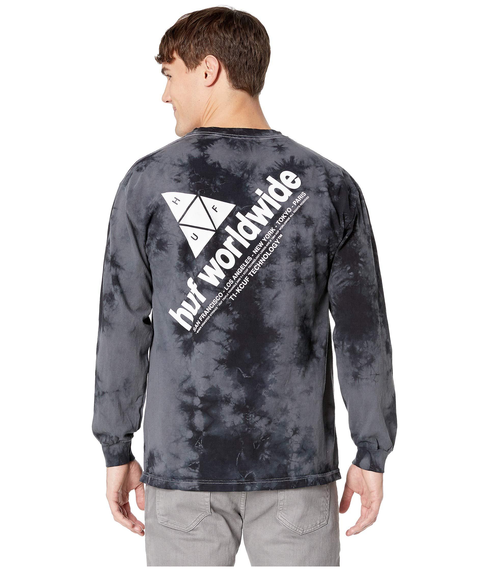 Long Tee Wash Huf Logo Peak Sleeve Crystal Black qOnUxH1wI6