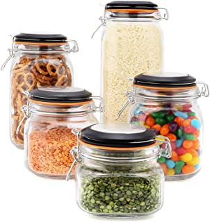 EatNeat Set of 5 Clear Glass Airtight Kitchen Canisters and Canning Jars with Bail & Trigger Hermetic Seal Clamp Lids | 68-51-34-27-17 oz. (Black Lid)