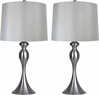 Grandview Gallery Table Lamps with Light Grey Lamp Shade, Set of 2 - Brushed Nickel Body with Grey Linen Shade, 26.5
