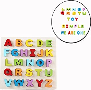 Cisixin Puzzle en Bois, Jouet Éducatif Apprentissage 26 Alphabets pour Enfants