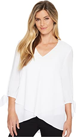 Slit 3/4 Tie Sleeve Top