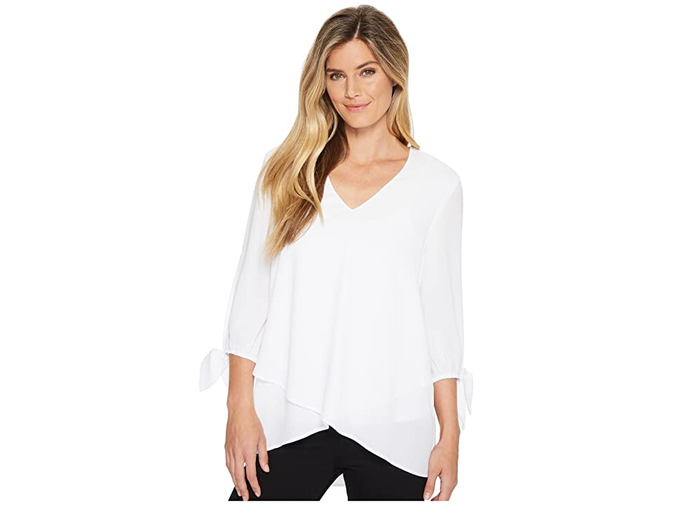 Karen Kane Slit 3/4 Tie Sleeve Top (Off-White) Women