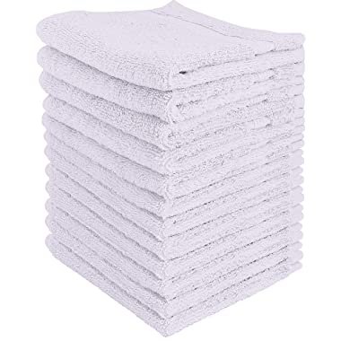 Utopia Towels - Premium Washcloths Set (12 x 12 Inches, White) - 600 GSM 100% Cotton Flannel Face Cloths, Highly Absorbent and Soft Feel Fingertip Towels (12-Pack)