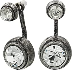 Round Bezel Stud Front and Back Earrings