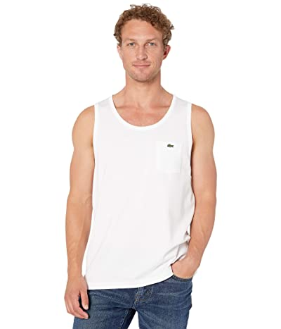 Lacoste Tank Heavy Jersey Solid T-Shirt (White) Men