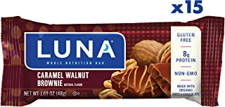 LUNA BAR - Gluten Free Snack Bars - Caramel Walnut Brownie Flavor - (1.69 Ounce Snack Bar, 15 Count)