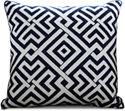 Purple Expressions Embroidered Throw Pillow Covers Decorative Cushion Cases 18 x 18 inch (Navy Blue Geometrical)