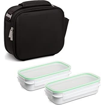 TATAY Urban Food Shell - Bolsa térmica Porta Alimentos con 2 tapers herméticos incluidos, 5,6 litros de capacidad, Poliéster, Negro, 28 x 13.5 x 23.5