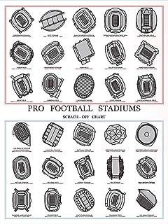 Pro Football Stadiums Scratch-Off Chart, Football Ballparks Wall Poster