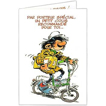 Gaston Lagaffe Glct 0121 Carte D Anniversaire Avec Motif Bisous Cœurs Amazon Fr Fournitures De Bureau
