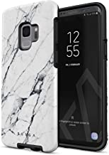 BURGA Phone Case Compatible with Samsung Galaxy S9 Satin White Marble Cute for Girls Heavy Duty Shockproof Dual Layer Hard Shell + Silicone Protective Cover