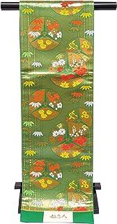 袋帯 正絹 新品 七五三 十三参りに 子供用 全通柄の袋帯「緑×金」JFS493