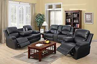 Ainehome Furniture 3PC Sectional Sofa Living Room Office Sofa Set Drop Down Table Bonded Leather Motion Sofa Loveseat Manu...