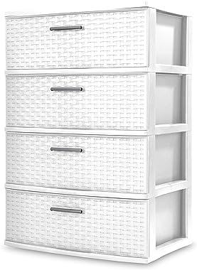 Sterilite 4 Drawer Wide Weave Tower (White)