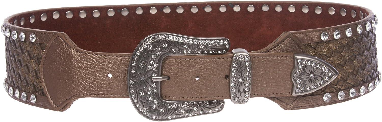 2 3 4  Wide Western Contoured Braided Rhinestone Leather Belt