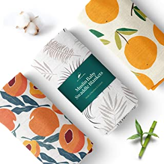 Unisex Swaddle Blankets, 3-Pack – Soft, Bamboo Rayon and Cotton Baby Blankets for Boys and Girls Promote Sound Sleep – 44x...