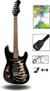 """Best 39"""" Full Size ST Style Electric Guitar - Black Skull Sticker Graphic Design - HSS Pickups with Super Light String for Beginners Review"""