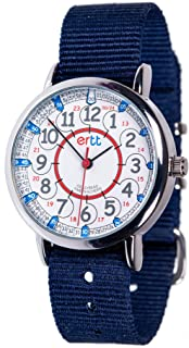 EasyRead Time Teacher Children's Watch, Red Blue 12/24 Hour Face, Navy Blue Strap