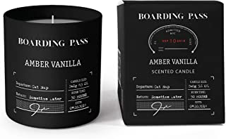 Boarding Pass Soy Candle, Burn Before Your Nap, Amber Vanilla Sandalwood Scented Candle, Black, 5.6oz