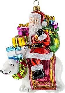 Miss Christmas 2019 Collection Polar Bear Santa 5.5-Inch Blown Glass Christmas Tree Ornament