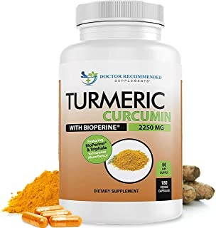 Sponsored Ad - Turmeric Curcumin - 2250mg/d - Veggie Capsules - 95% Curcuminoids with Black Pepper Extract (Bioperine) - 1...
