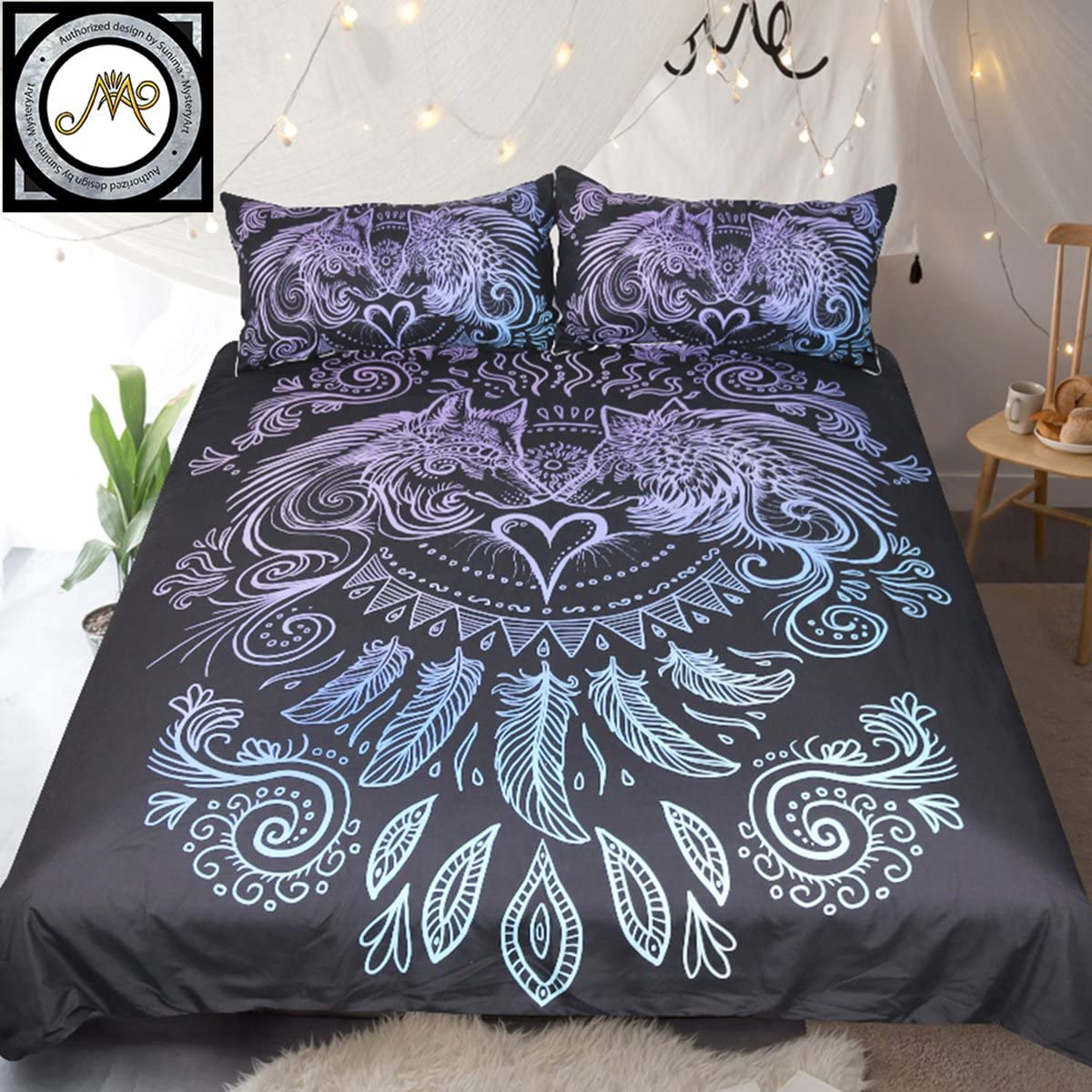Wolves Cheap mail sale order specialty store Heart by Sunimaart Bedding Set Nature 3pcs Wolf Animal Ar